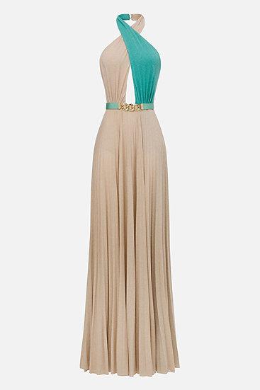Elisabetta Franchi langes Kleid mit Gürtel