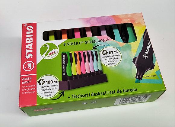 Evidenziatore Ecosostenibile - STABILO GREEN BOSS Pastel Desk-Set - 8 Colori ass