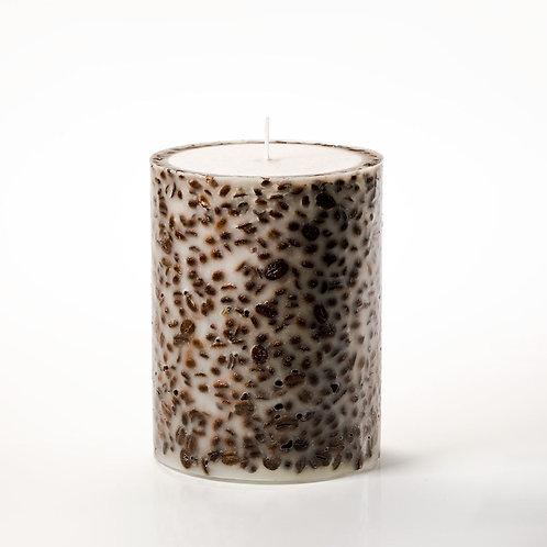 CANDELA LANTERNA CON CHICCHI DI CAFFE' 15cm