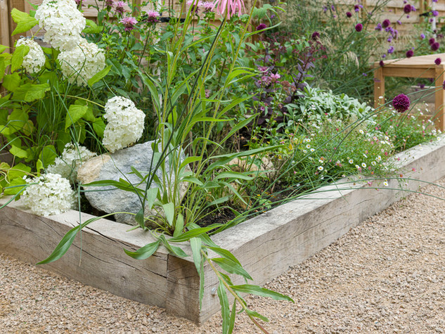 the corner of a raised bed made from limed oak sleepers with contemporary planting and landscaping rock in a cambridge garden
