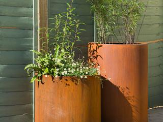 pair of corten pots in cambridge