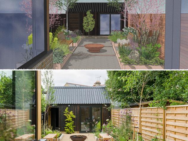 A view of a cambridge contemporary garden compared to the computer design image