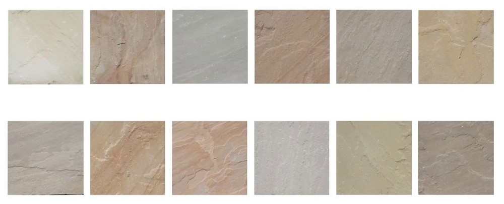 samples showing the different colours of sandstone paving