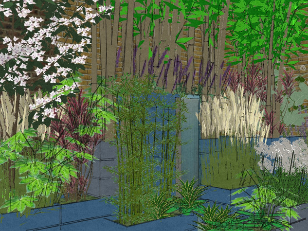 A computer image of stacked planters creating a tiered multi level design for a contemporary garden in cambridge