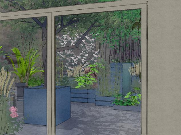 Computer generated image of a courtyard garden design in cambridge