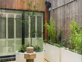 Courtyard garden design with cedar clad walls, white planters, sawn sandstone paving, concrete scultpure and contemporary planting scheme.