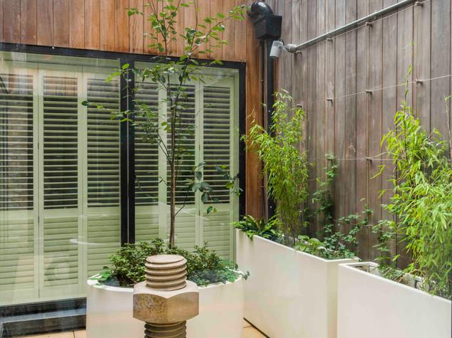 Courtyard garden design with cedar clad walls, white planters, sawn sandstone paving, concrete scultpure and contemporary planting scheme.