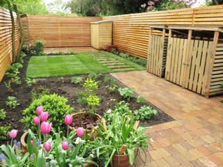 Contemporary block paving in a modern garden in cambridge. Designed and built by a landscaping firm