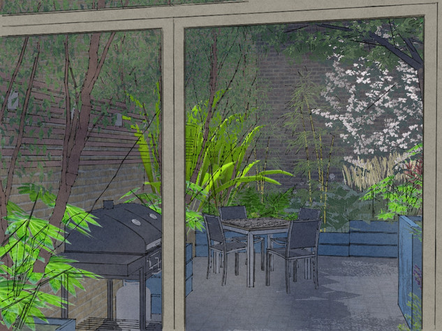 CAD computer generated image of a garden design in cambridge