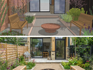 Computer CAD image of a garden design alongside a photo of the completed garden