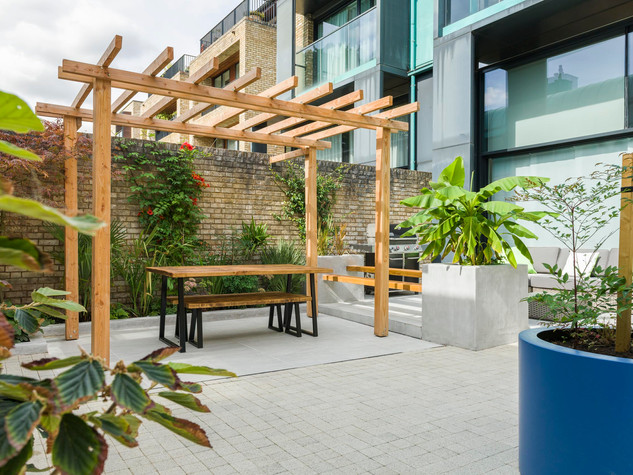 View of a minimalist courtyard garden designed by a garden designer