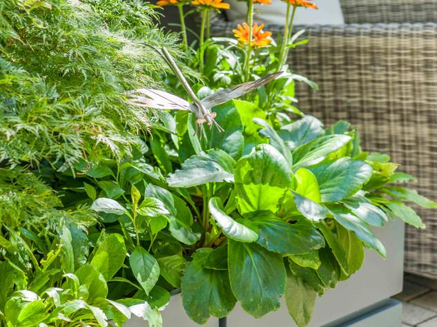 Grey fibreglass GRP planters with contemporary planting in a courtyard garden