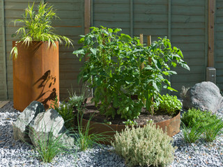 Plant pot and raised bed both made from corten steel, as part of a modern gravel garden