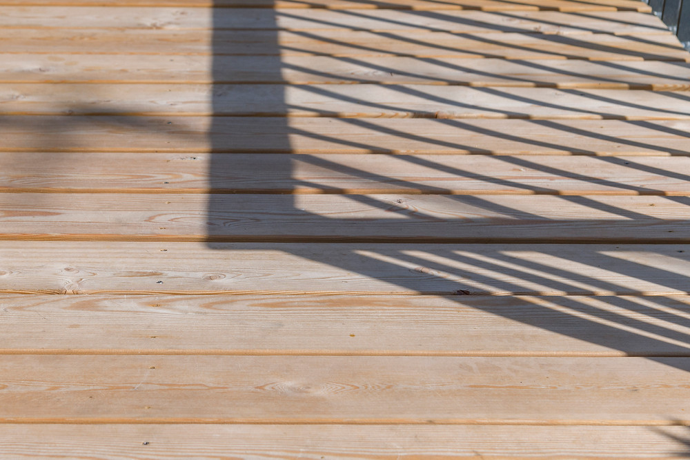 Close up ohoto of contemporary larch decking
