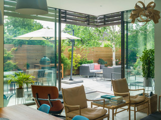 Interior view of archirect designed extension with patio and garden built by cutlivate gardens