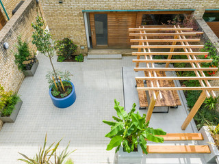 Top view of a contemporary courtyard garden in the accordia development in cambridge