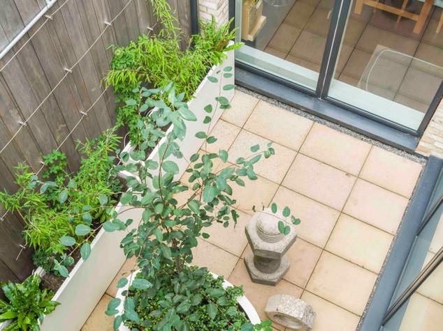 Courtyard garden design in Accordia in cambridge.  Sawn sandstone paving and modern white planters
