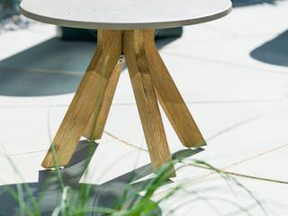 Close up of small contemporary garden table