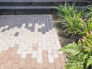 a dutch clay brick path in a contemporary garden in cambridge. three colours of bricks creating a modern pattern