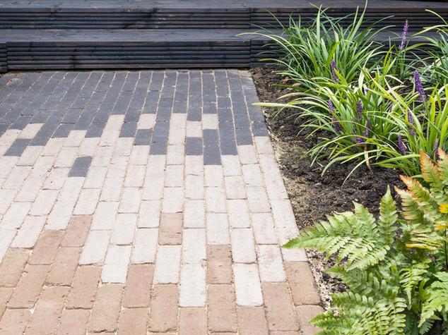 a dutch clay brick path in a contemporary garden in cambridge. three colours of bricks creating a modern pattern