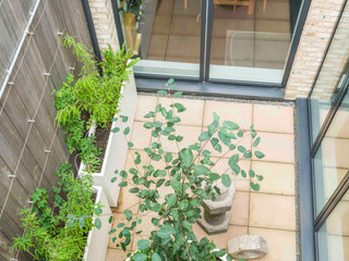 Top view of a modern courtyard garden design. Minimalist style with modern materials