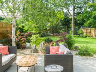 Modern garden furniture  in a cambridge garden designed by a garden designer