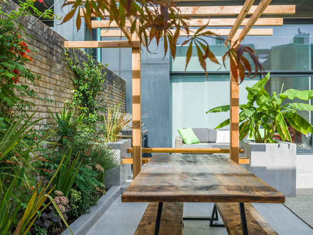 Conteporary garden design with pergola and exotic planting