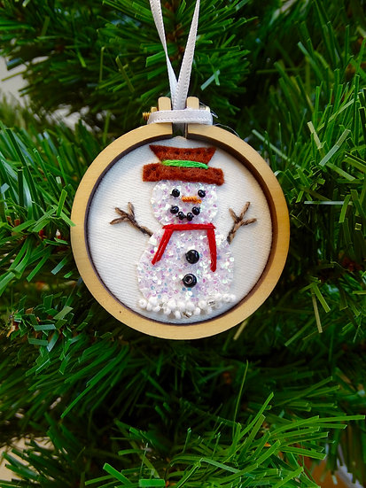 Disco Snowman Christmas Hanging Tree Ornament