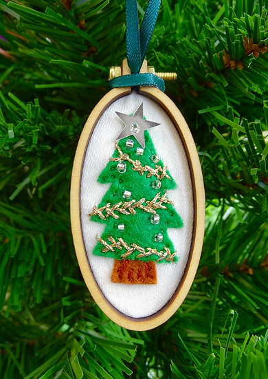 Oval Tree Christmas Hanging Tree Ornament