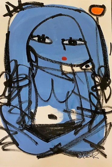 """Cross-Legged Blue Woman (1)"" by Rascal"