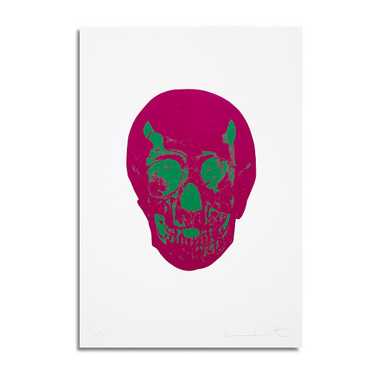 """""""Fuchsia Pink/Lime Green Skull, from the Dead portfolio"""" by Damien Hirst"""