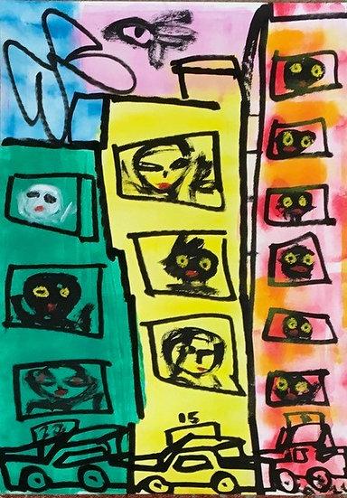 """3 Buildings, 3 Cars"" by Rascal"