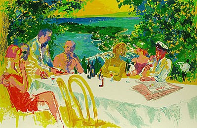 """Wine Alfresco"" by LeRoy Neiman"