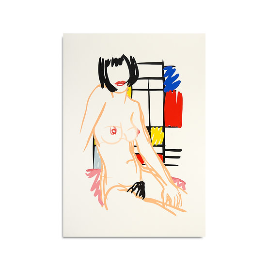 """Monica Sitting with Mondrian"" by Tom Wesselmann"