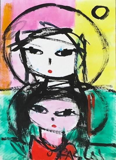 """""""Woman with Pink Child"""" by Rascal"""