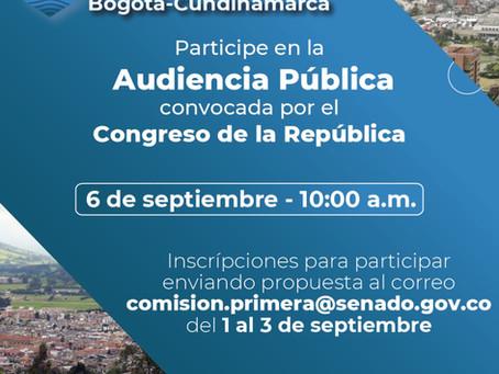 En audiencia pública, Congreso recibe aportes ciudadanos para la reglamentación de la RMBC