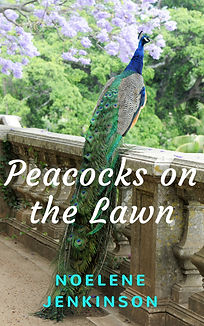 Peacocks on the Lawn canva book cover (2
