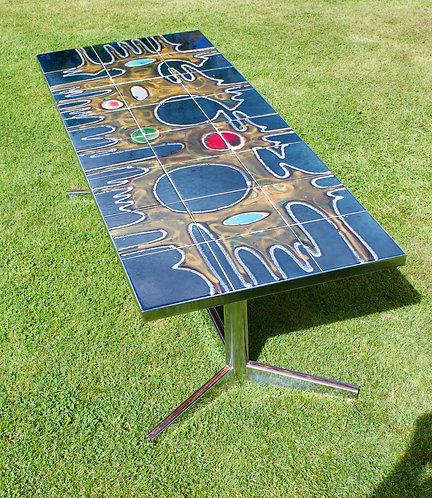A Vintage Retro 1970's Chrome Tiled Coffee Table