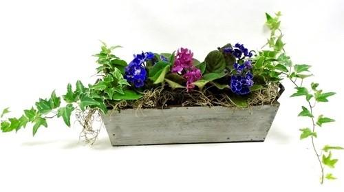 Violets & Ivy Wooden Basket