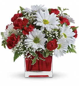 Red & White Cube Bouquet