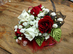 Red & White Sweetheart Corsage