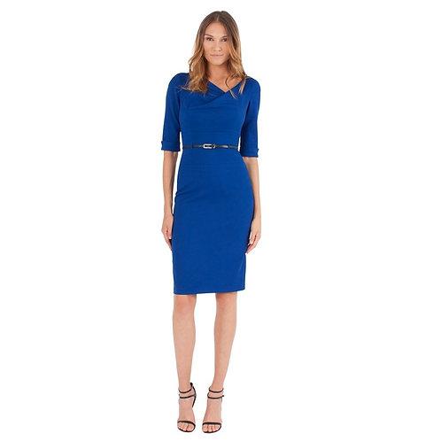 3/4 Sleeve Jackie O Dress, Cobalt Blue, by Black Halo