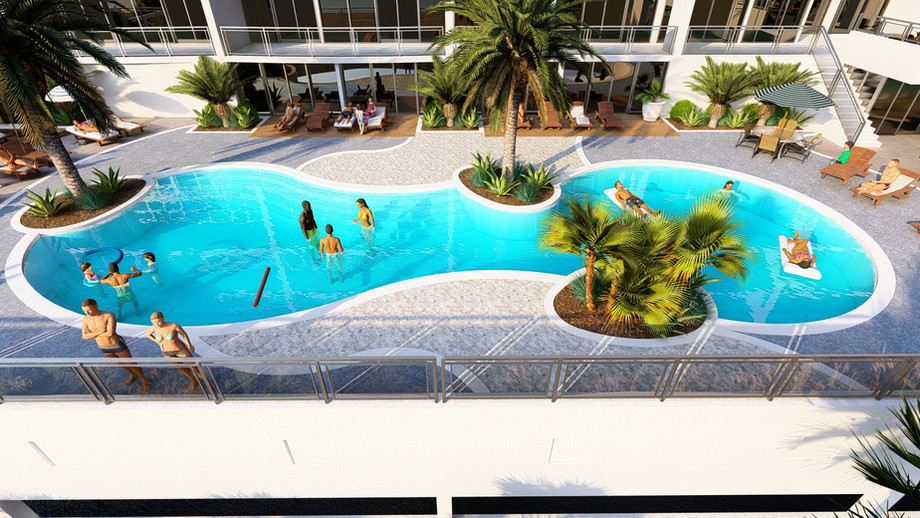 Free form family pool at Palace Sands