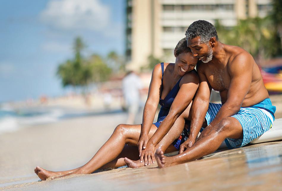 Couple enjoying romantic moment on beach