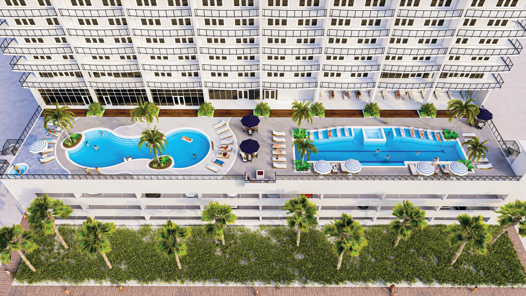 Palace Sands Aerial of Amenity Deck