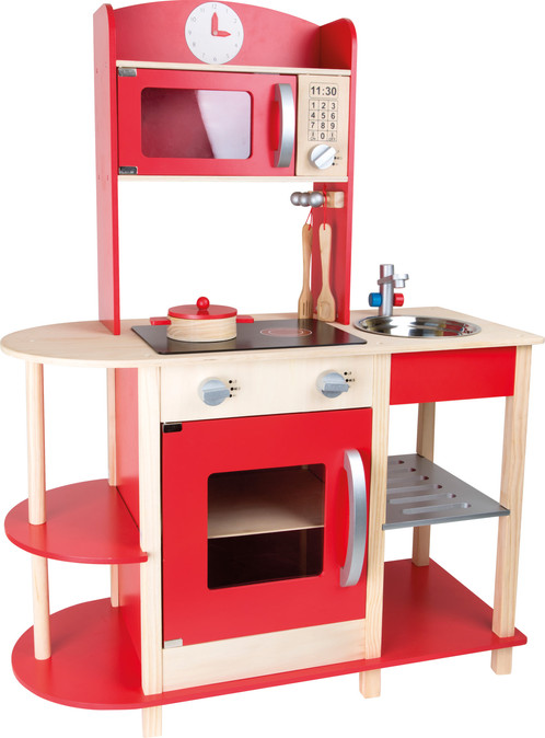Red Wooden Play Kitchen The Toy Toys Kitchens Uk