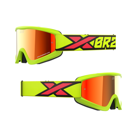 GOX Flatout Iridium Goggle Flo Yellow/Black/Fire Red