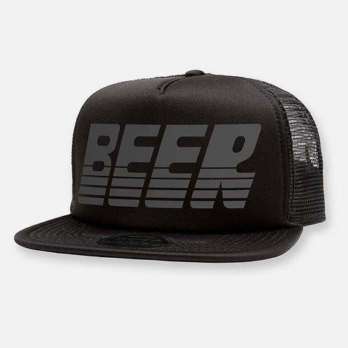 BEER HAT BLACK ON BLACK