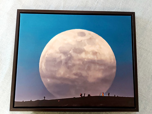 Supermoon Over The Wrekin, Shropshire Canvas in Stunning Floating F