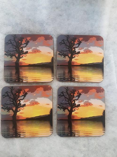 Set of 4 Impressionist Tree Coasters